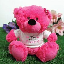 Mum Personalised Teddy Bear Plush Hot Pink