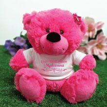 Get Well Teddy Bear Hot Pink Plush