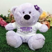 Personalised 100th Birthday Bear Lavender Plush