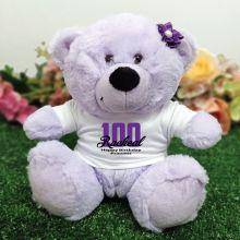 100th Birthday Personalised Teddy Bear Lavender Plush