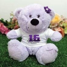 16th Birthday Personalised Teddy Bear Lavender Plush