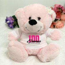 100th Birthday Personalised Teddy Bear Light Pink Plush