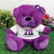 Personalised 70th Birthday Teddy Bear Plush Purple