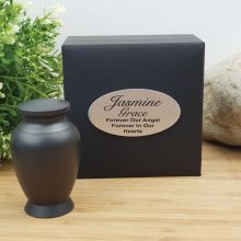 Baby Memorial keepsake Mini Urn Matte Black Stainless Steel