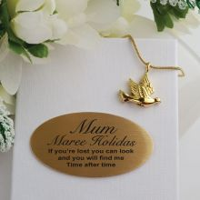 Gold Dove Memorial Cremation Urn Necklace In Personalised Box