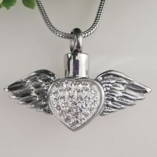 Heart Wings Urn Cremation Ash Necklace