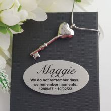 Heart Key Cremation Ash Necklace in Personalised Box