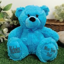 Personalised Message Bear 30cm Bright Blue