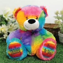 Personalised Message Bear 30cm Rainbow