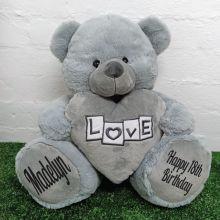 18th Birthday Bear With Grey Heart 40cm