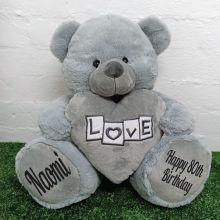 80th Birthday Love Bear With Grey Heart 40cm