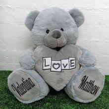 Love Bear With Grey Heart 40cm