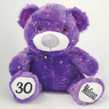 30th Birthday Teddy Bear 40cm Hollywood - Purple