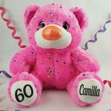 60th Birthday Teddy Bear 40cm Hollywood Pink