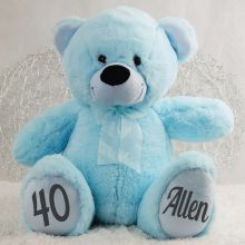 Personalised 40th Birthday Teddy Bear 40cm -Light Blue