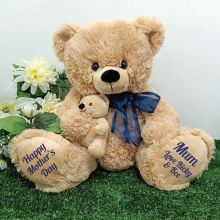 Mumma Bear & Baby Bear Personalised Plush - Blue