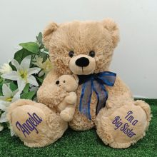 Personalised Sister Teddy Bear with Blue Bow
