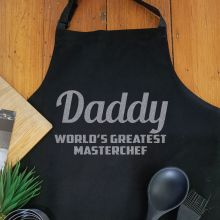 Dad Personalised  Apron with Pocket - Black