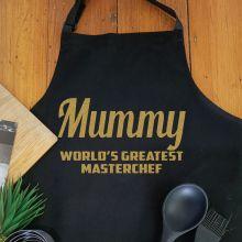 Mum Personalised  Apron with Pocket - Black
