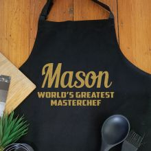 Personalised  Apron with Pocket - Black