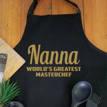 Nana Personalised  Apron with Pocket - Black