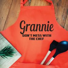 Grandma Personalised  Apron with Pocket - Orange