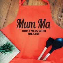 Mum Personalised  Apron with Pocket - Orange
