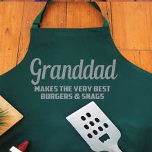 Grandpa Personalised  Apron with Pocket - Pea Green