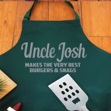Uncle Personalised  Apron with Pocket - Pea Green