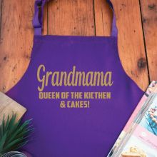 Grandma Personalised  Apron with Pocket - Purple