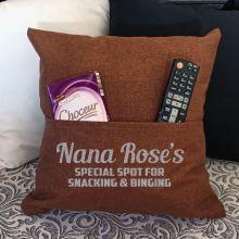 Nan Personalised Tan Pocket Pillow Cover