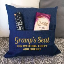 Grandpa Personalised Navy Pocket Reading Pillow Cover