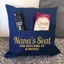 Nana Personalised Navy Pocket Reading Pillow Cover