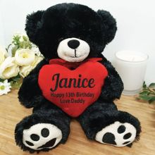 Personalised 13th Bear Black Plush with Heart
