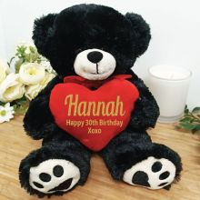 Personalised 30th Bear Black Plush with Heart
