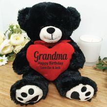 Personalised Grandma Bear Black Plush with Heart