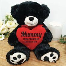 Personalised Mum Bear Black Plush with Heart