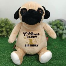 Personalised Birthday Pug Cubbie Bear Plush
