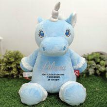 Personalised Message Blue Unicorn Cubbie Bear Plush