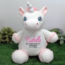Personalised Message White Unicorn Cubbie Bear Plush