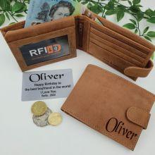 Personalised Cow Hide Leather Wallet RFID - Birthday