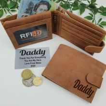 Dad Personalised Cow Hide Leather Wallet RFID