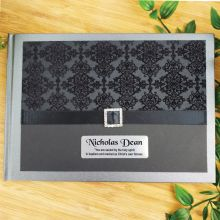 Personalised Baptism Guest Book- Baroque Black