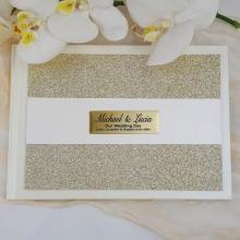 Wedding Guest Book Album Gold Glitter Band