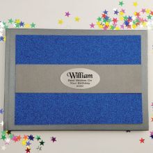 Birthday Personalised  Glitter Guest Book- Blue