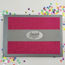 Graduation Personalised  Glitter Guest Book- Pink