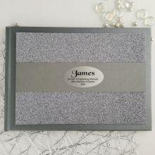Graduation Personalised  Glitter Guest Book- Gunmetal