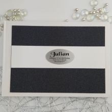 Personalised 21st Birthday Guest Book- Black Glitter