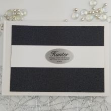Personalised 60th Birthday Guest Book- Black Glitter