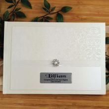 Personalised Graduation Guest Book- Cream Pearl